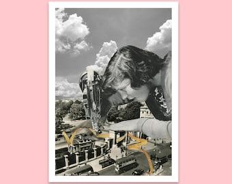 London Hyde Park postcard - Vintage art - Collage art - Small art print - A6
