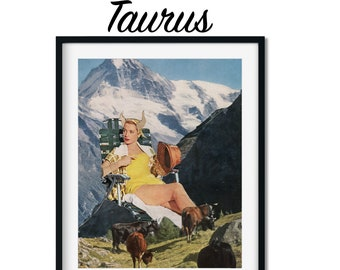 Taurus print, Astrology horoscope art, Zodiac poster, Gift for her