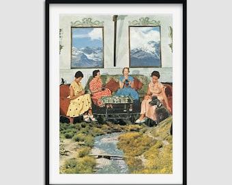 Nature prints, River wall art, Afternoon tea illustration, Modern posters, Livingroom decor