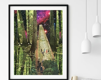 Nature art print, Green woods trees print, Universe art