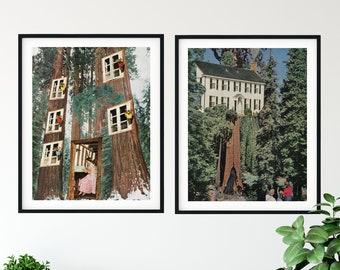 Print set of 2 - trees print set - trees art - wood prints - nature art