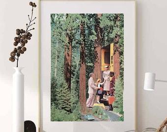 Extra large tree print, Travel poster, Retro vintage wall art