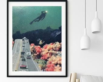 Travel poster, Ocean print, Underwater art, Coral print, Colourful prints, Driving test gift, Diver print, Sea art