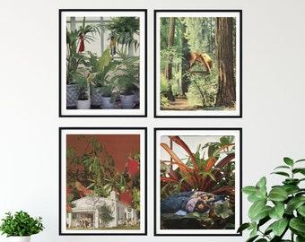 Print set of 4 - 4 prints set for living room or bedroom. Botanical print set