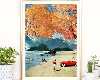 Autumn / fall art print, Orange Poster, Landscape art, Modern artwork, Wall art print