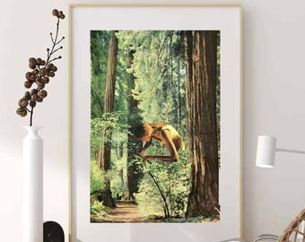 Large nature print, Trees art, Mother nature poster, Green prints, Woods