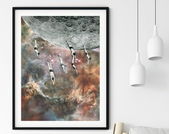 Retro universe poster, Full moon art, Swimming in the space print, Living room art, Bedroom prints