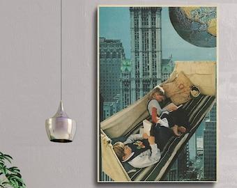 Cityscape print, Large wall art,  extra large art, 30 x 40, 20 x 30, 45 x 30 prints, retro print, city poster, blue