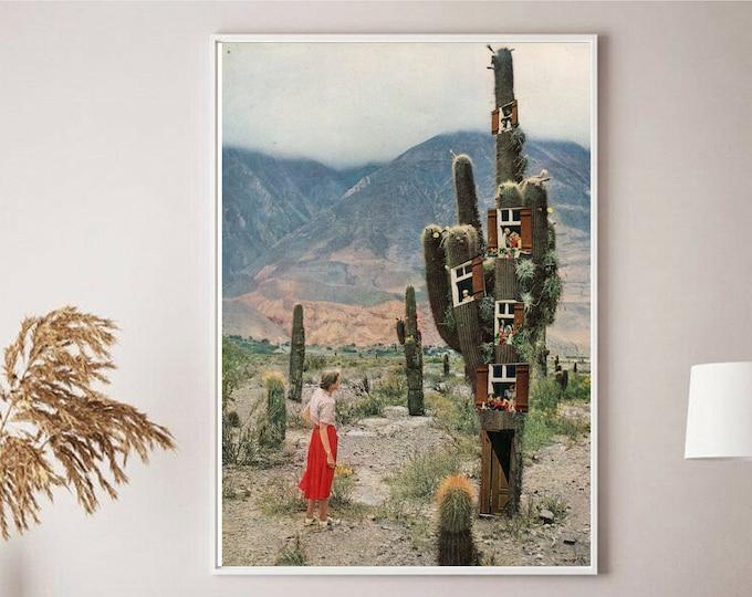 Featured listing image: Cactus print, Desert wall art, Botanical illustration, Fairy garden, Cacti decor, Retro prints