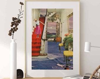 Sea Print wall art, Ocean poster, Blue and lilac wall decor