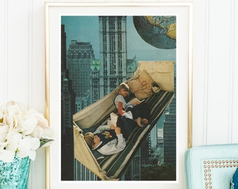 City prints, city wall art, collage art print, earth print, travellers gift, Mid Century Art, Retro Wall Art, A4 print