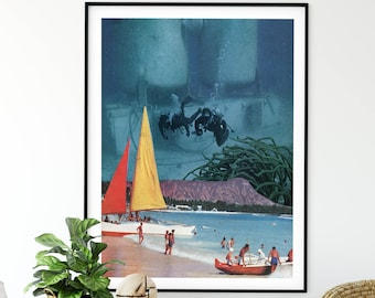 Summer print, underwater photography, collage art, fantasy art, beach house decor, bathroom prints, large art