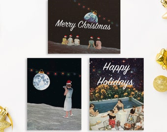 Pack of Christmas cards - Xmas card set - Set of 3, 9 or 12 cards- Funny and unique cards
