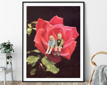 Rose print, Red rose, Floral, flowers, Large print, Large wall art,  extra large wall art, large wall print, Hallway art, Livingroom art