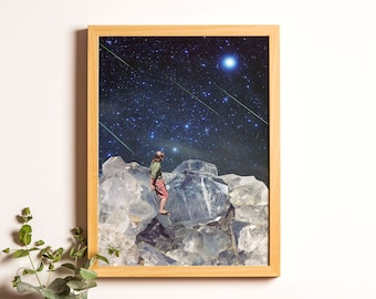Crystal Art, Gift for Her, Boho Poster, Quartz Art, Crystal Print, Vintage Antique Art, Shooting star poster