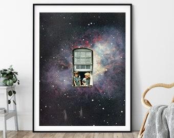Space print, Universe poster, Night sky, UK artist