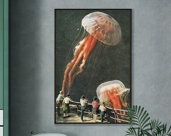 Extra large art print, Jelly fish art, Modern print, Large wall art, Living room art, Kitchen, Hallway