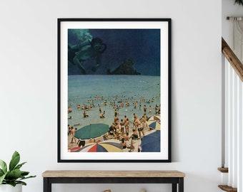 Large wall art,  extra large art, 30 x 40, 20 x 30, 45 x 30 prints, retro print,diving, beach art, water decor, diving