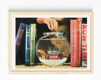 5x7 art print - Fish tank print - Collage art