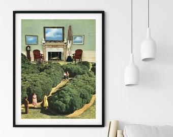 Nature prints, Modern architecture art poster, Green print, Office, living room, bedroom art