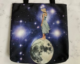On top of the moon tote bag
