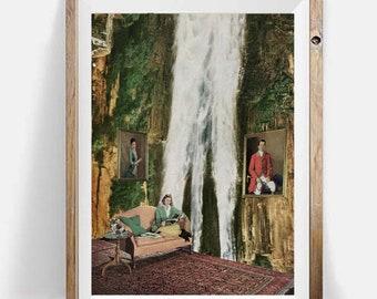 Waterfall prints, Nature art, Fantasy prints, 16x20 art print, Adventure decor, Vintage art