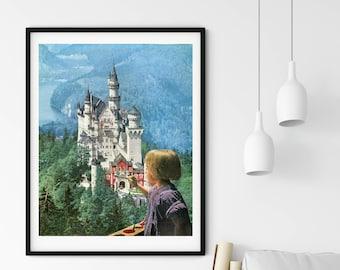 Fairy tale art, Castle print, Nature art, inspirational art