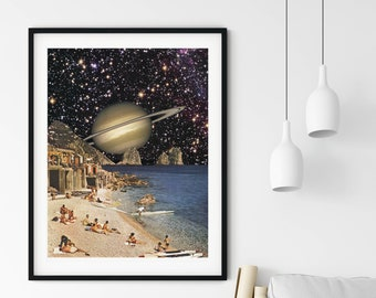 Beach print, summer holiday art, saturn poster, stars prints