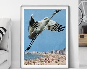 Beach print with bird flying, Light blue wall art