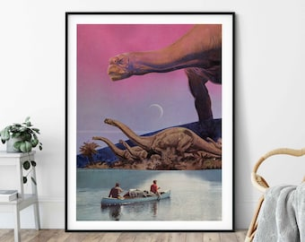 Extra large dinosaur print - Pink poster with the boat and lake - Large wall art