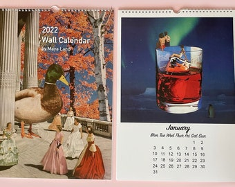 2022 wall calendar a3 - monthly calendar - illustrated art calendar