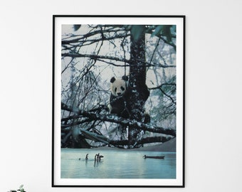 Panda print, Bear prints, winter art, Large wall art, Extra large wall art, Large print, Wall art prints, Large prints