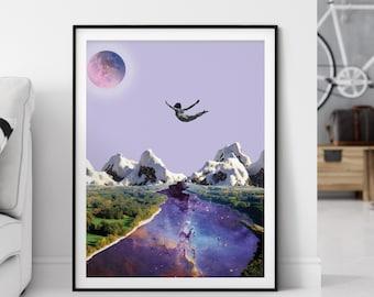 Love print, Falling in love art, Anniversary gift, Valentines day art print, Purple wall decor, Universe art