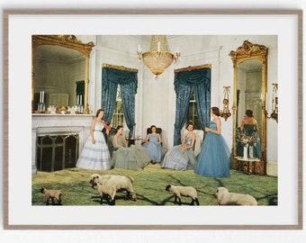 Wall art prints, large art, retro print, mid century vibe, animal prints, sheep print, vintage art, vintage decor, A4 prints, A3 prints