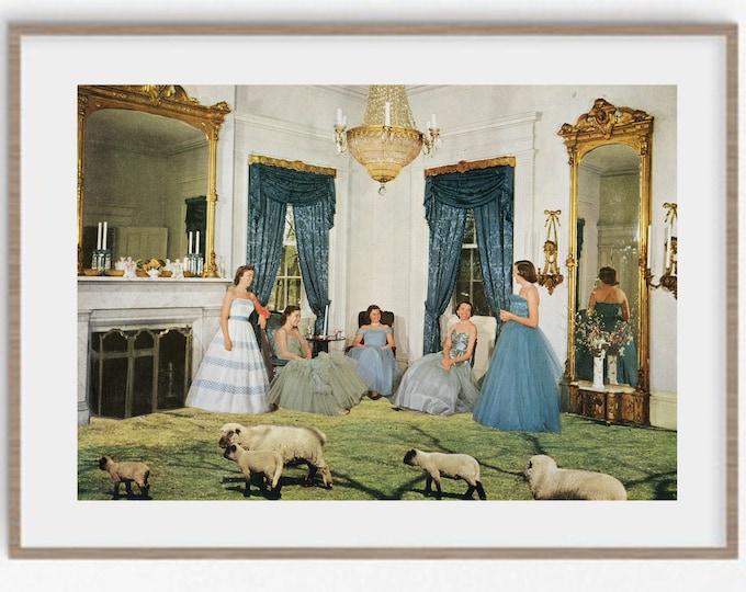 Featured listing image: Wall art prints, large art, retro print, mid century vibe, animal prints, sheep print, vintage art, vintage decor, A4 prints, A3 prints