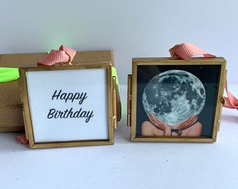 Birthday gift for her, Small framed art, Personalised art