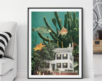 Fish print, Underwater art, Large wall art prints,  extra large art, bathroom art, living room decor