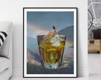 Large wall art print - Drink prints - Rainbow landscape art print