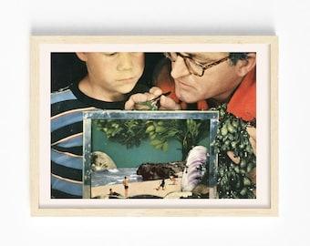5x7 art print - Beach aquarium print- Collage art