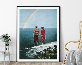 Large wall art, Rainbow prints, Couple art, Love, Sea print, Ocean, Extra large prints, Massive Posters