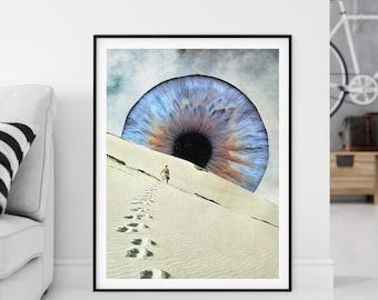Extra large prints, Large eye wall art, Living room staple piece art, Wall decor, Modern art
