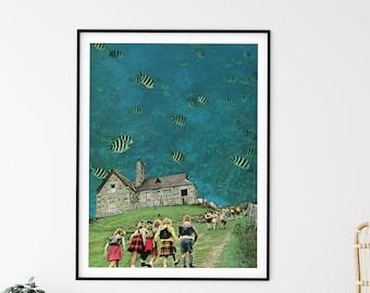 Large wall art,  extra large art, 30 x 40, 20 x 30, 45 x 30 prints, retro print, underwater, aquarium, fish print