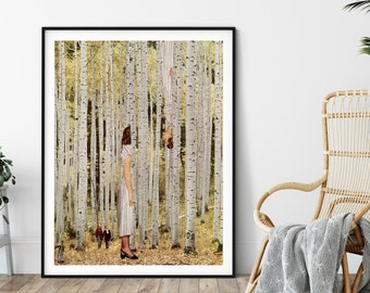 Yellow print, Trees print, Large print, Large wall art,  extra large wall art, large wall print, Hallway art, Livingroom art