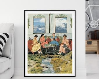 Extra large nature art print, River poster, Livingroom, Kitchen wall decor, Modern Architecture art