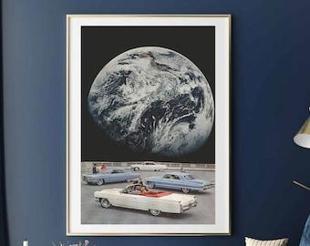 Oversized wall art, Large art prints, Extra huge posters, Earth poster, Modern art, Living room hallway decor