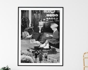 Minimalist print, monochrome print, black and white landscape, scandi print, large prints, extra large art