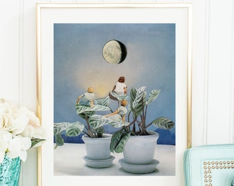 Plants prints, Indoor plants poster, moon prints, blue wall decor, garden art, full moon, modern art