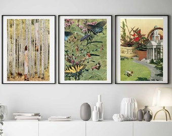 Set of 3 extra large botanical prints, Trees, Plants, Butterflies poster, Nature art print set