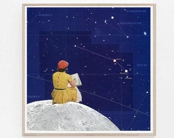 Zodiac art, Astrology print, Pisces, Taurus, Constellation print, Star Map, Star poster, Night Sky Print