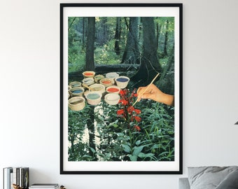 Nature prints, Sage Green Wall Art, Forest Green Art, Mother Nature, Red accent art